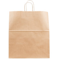 Duro Grande Natural Kraft Paper Shopping Bag with Handles 16 inch x 11 inch x 18 1/4 inch - 200/Bundle