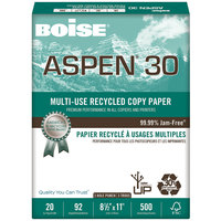 Boise 054901P Aspen 30 8 1/2 inch x 11 inch White 3-Hole Case of #20 Multi-Use Recycled Paper - 5000 Sheets - 10/Case