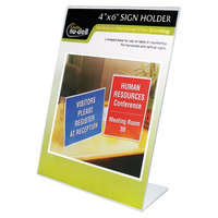 NuDell 35446 4 inch x 6 inch Clear Plastic Desktop Sign Holder