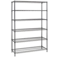 Alera ALESW664818BA 18 inch x 48 inch x 72 inch Black Anthracite Steel Wire Shelving 6-Shelf Commercial Starter Kit with Shelf Liners