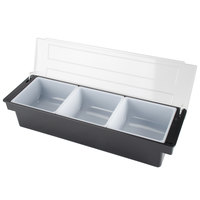 Tablecraft 104 Black 3 Compartment Condiment Holder - 3 QT capacity