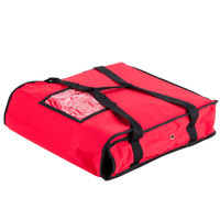 "Choice 18"" x 18"" x 5"" Red Nylon Insulated Pizza Delivery Bag - Holds up to (2) 16"" or (1) 18"" Pizza Boxes"