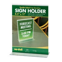 NuDell 38020 8 1/2 inch x 11 inch Clear Acrylic Double-Sided Sign Holder
