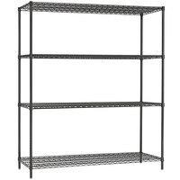 Alera ALESW206018BA 18 inch x 60 inch x 72 inch Black Anthracite Steel Wire Shelving 4-Shelf Starter Kit