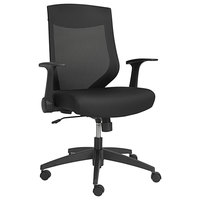 Alera ALEEBK4217 Mid-Back Black Mesh Office Chair with Adjustable Arms and Black Swivel Nylon Base