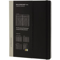 Moleskine PROPFNTB4HBK 9 3/4 inch x 7 3/4 inch Black 192 Page Narrow Ruled Professional Notebook