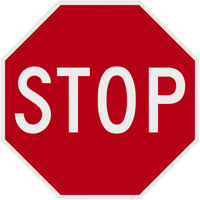 Stop High Intensity Prismatic Reflective Red / White Aluminum Sign - 18 inch x 18 inch