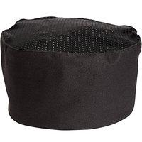 Uncommon Threads 0157C Black Customizable Kool Mesh Top Chef Skull Cap / Pill Box Hat