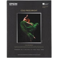Epson S042307 Cold Press Bright 8 1/2 inch x 11 inch White Pack of 21 Mil Fine Art Matte Paper - 25 Sheets
