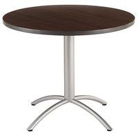 Iceberg 65624 CafeWorks 36 inch Walnut Melamine Round Cafe Table