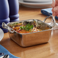Vollrath 59767 15.5 oz. Square Mini Stainless Steel Roasting Pan with Handles