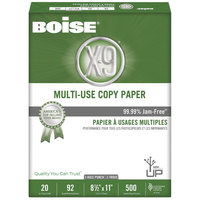 Boise OX9001P X-9 8 1/2 inch x 11 inch White Case of 20# Multi-Use Copy Paper - 5000 Sheets - 10/Case