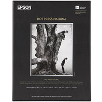Epson S042317 Hot Press Natural 8 1/2 inch x 11 inch White Pack of 17 Mil Smooth Matte Fine Art Paper - 25 Sheets