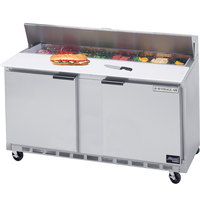 Beverage Air SPE60-16C 60 inch 2 Door Cutting Top Refrigerated Sandwich Prep Table with 17 inch Wide Cutting Board