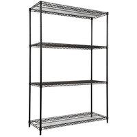 Alera ALESW504818BL 18 inch x 48 inch x 72 inch Black Steel Wire Shelving 4-Shelf Starter Kit