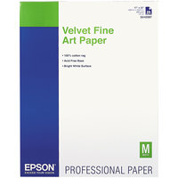 Epson S042097 17 inch x 22 inch White Pack of Velvet Fine Art Paper - 25 Sheets