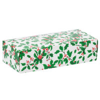 8 7/8 inch x 3 3/4 inch x 2 3/8 inch 1-Piece 2 lb. Holly / Holiday Candy Box   - 250/Case