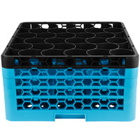 Carlisle RW30-3C OptiClean NeWave 30 Compartment Black Color-Coded Glass Rack with 4 Extenders