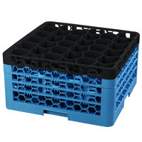 Carlisle RW30-3C OptiClean NeWave 30 Compartment Glass Rack with 4 Color-Coded Extenders - Black / Carlisle Blue