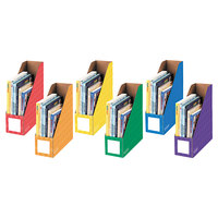 Bankers Box 3381901 4 1/4 inch x 11 3/8 inch x 12 7/8 inch Assorted Color Cardboard Magazine File - 6/Pack