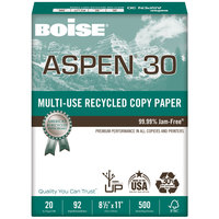 Boise 054901 Aspen 30 8 1/2 inch x 11 inch White Case of 20# Multi-Use Recycled Paper - 5000 sheets - 10/Case