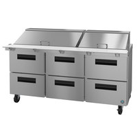 Hoshizaki SR72A-30MD6 72 inch 6 Drawer Mega Top Stainless Steel Refrigerated Sandwich Prep Table