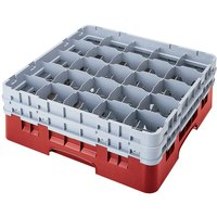 Cambro 25S318163 Camrack 3 5/8 inch High Customizable Red 25 Compartment Glass Rack