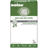 Boise OX9004 X-9 8 1/2 inch x 14 inch White Case of 20# Multi-Use Copy Paper - 5000 Sheets - 10/Case