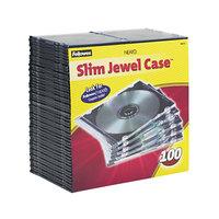 Fellowes 98335 Clear / Black Plastic Slim Jewel CD Case - 100/Pack