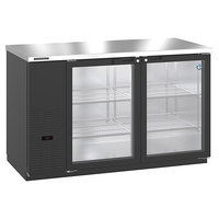 Hoshizaki HBB-2G-LD-59 59 1/2 inch Black Glass Door Back Bar Refrigerator
