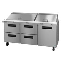 Hoshizaki SR72A-30MD4 72 inch 1 Door, 4 Drawer Mega Top Stainless Steel Refrigerated Sandwich Prep Table