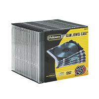 Fellowes 98316 Clear / Black Plastic Slim Jewel CD Case - 25/Pack
