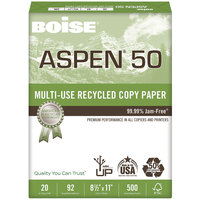 Boise 055011 Aspen 50 8 1/2 inch x 11 inch White Case of 20# Multi-Use Recycled Paper - 5000 Sheets - 10/Case