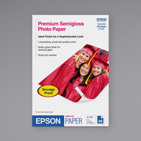 Epson S041982 4 inch x 6 inch White Pack of 7 Mil Semi-Gloss Photo Paper - 40 Sheets