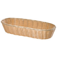 Tablecraft 1118W 15 inch x 6 inch x 3 inch Oblong Woven Rattan-Like Basket - 3/Pack