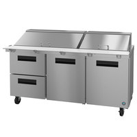 Hoshizaki SR72A-30MD2 72 inch 2 Door, 2 Drawer Mega Top Stainless Steel Refrigerated Sandwich Prep Table