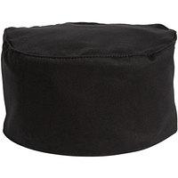Uncommon Threads 0156C Black Customizable Chef Skull Cap / Pill Box Hat