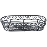 Tablecraft BK21709 Mediterranean Oblong Black Metal Basket - 9 inch x 4 inch x 2 inch