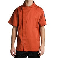 Chef Revival J020SP-L Cool Crew Fresh Size 46 (L) Spice Orange Customizable Chef Jacket with Short Sleeves and Hidden Snap Buttons - Poly-Cotton
