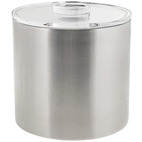 Front of the House RIB030BSS21 3 Qt. Silver Stainless Steel Ice Bucket with Acrylic Lid