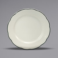 Oneida Buffalo F1560018111 Caprice 5 1/2 inch Scalloped Edge China Plate with Manhattan Black Band - 36/Case