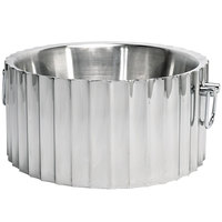 Front of the House SIB002MSS28 14 1/2 inch Round Fluted Stainless Steel Beverage Tub with Handles