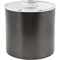 Front of the House RIB030BKS21 3 Qt. Matte Black Stainless Steel Ice Bucket with Acrylic Lid