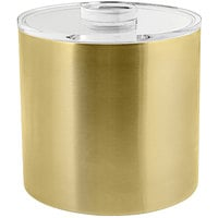 Front of the House RIB030GOS21 3 Qt. Matte Brass Stainless Steel Ice Bucket with Acrylic Lid
