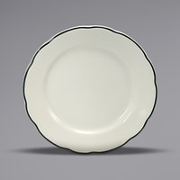 Oneida Buffalo F1560018139 Caprice 9 inch Scalloped Edge China Plate with Manhattan Black Band - 24/Case
