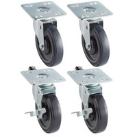 Regency 5 inch Heavy Duty Zinc Swivel Plate Casters for Work Tables and Equipment Stands - 4/Set