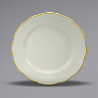 Oneida Buffalo F1560013144 Caprice 9 5/8 inch Scalloped Edge China Plate with Manhattan Gold Band - 24/Case