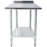 Advance Tabco FLAG-240-X 24 inch x 30 inch 16 Gauge Stainless Steel Work Table with 1 1/2 inch Backsplash and Galvanized Undershelf