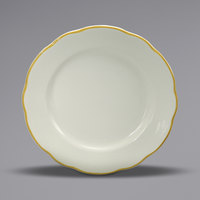 Oneida Buffalo F1560013118 Caprice 6 3/8 inch Scalloped Edge China Plate with Manhattan Gold Band - 36/Case