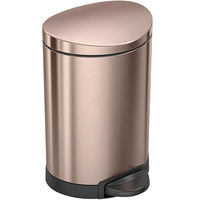 simplehuman CW2057 1.6 Gallon / 6 Liter Rose Gold Stainless Steel Semi-Round Step-On Trash Can